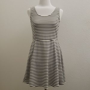 Divided Striped Fit and Flare Sleeveless dress